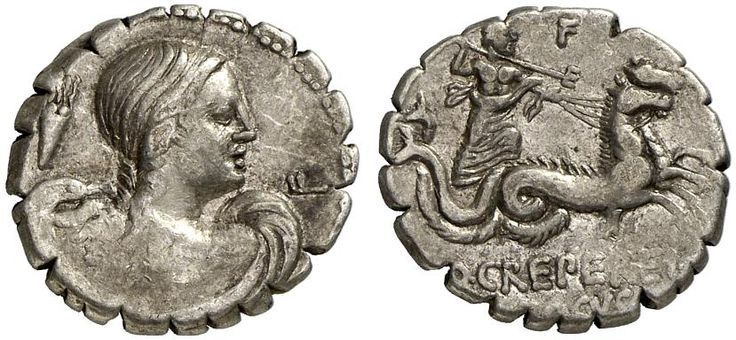 AR Denarius serratus. Roman Coin, Roman Republic, Moneyers, Q.Crepereius Rocus. 72 BC. 3,80g. Syd. 796. VF/good VF. Price realized 2011: 550 USD.