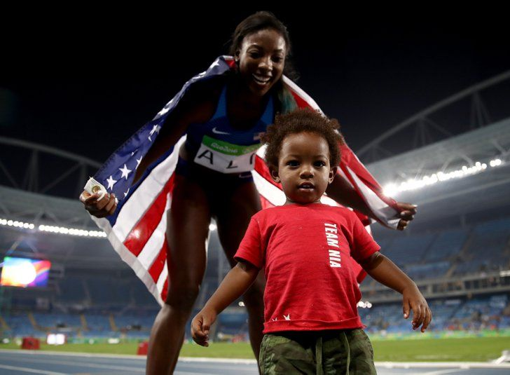 Pin for Later: Nia Ali Takes Her Victory Lap at the Olympics With Her Adorable Son, Titus
