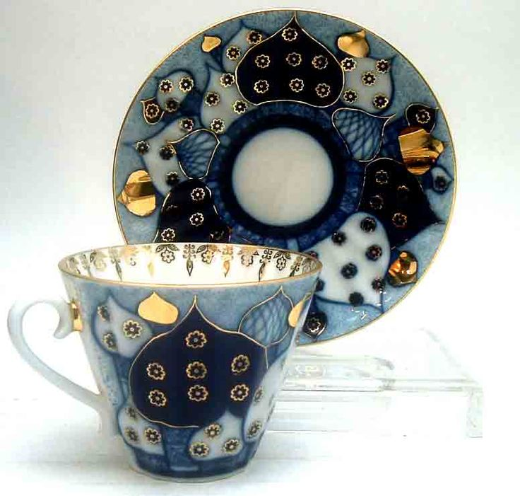 Russian Domes (aka Golden Domes)Tea Cup & Saucer, Fine Porcelain from The Imperial (formerly Lomonosov) Porcelain Factory