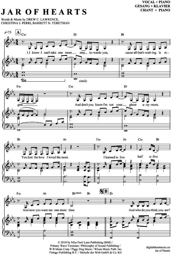 Jar of hearts (Klavier + Gesang) Christina Perri [PDF Noten] >>> KLICK auf die Noten um Reinzuhören <<< Noten und Playback zum Download für verschiedene Instrumente bei notendownload Blockflöte, Querflöte, Gesang, Keyboard, Klavier, Klarinette, Saxophon, Trompete, Posaune, Violine, Violoncello, E-Bass, und andere ...
