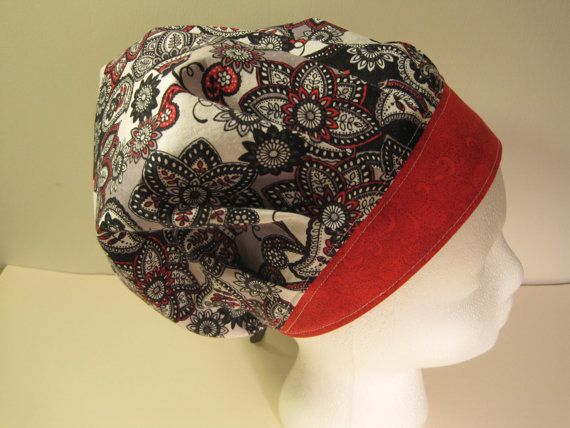 Beautiful Bouffant Black Red White and Gray Scrub Hat, surgical scrub hat, Surgical cap, nurse scrub hat, doctor scrub hat, gift hat