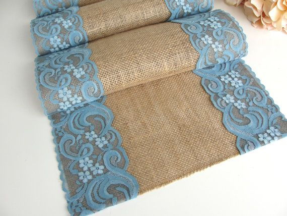 Teal Lace Table Runner Wedding Table runner by HotCocoaDesign