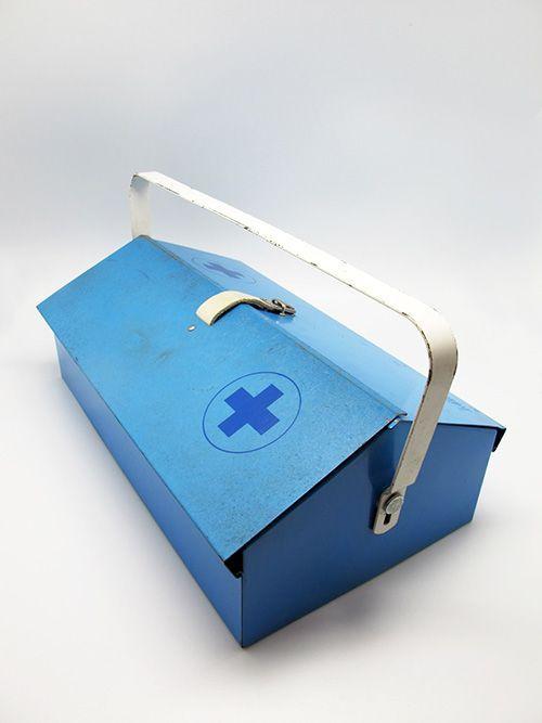 Wilhelm Kienzle; Enameled Metal Pharma Box for Mewa, 1950s.
