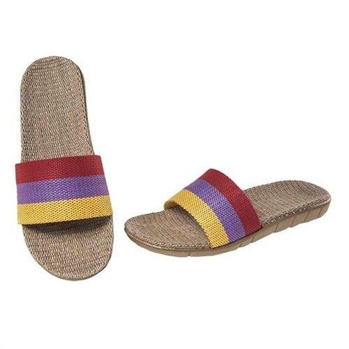 Womens Stripes Linen Slippers