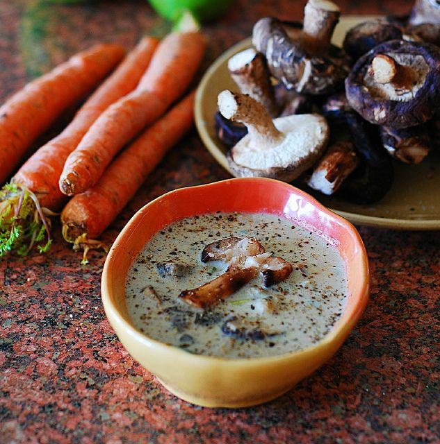 Creamy Mushroom Soup with Shiitake Mushrooms -- This recipe doesn't use any