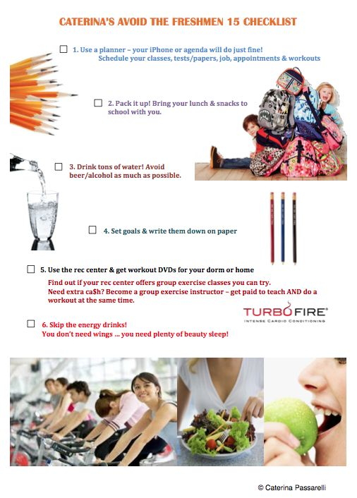 An easy checklist for avoiding the freshmen 15 or helping you lose (or maintain) weight! REPIN!  http://www.caterinapassarelli.com #loseweight #fitness #nutrition #college #students #freshman15 #freshmen15