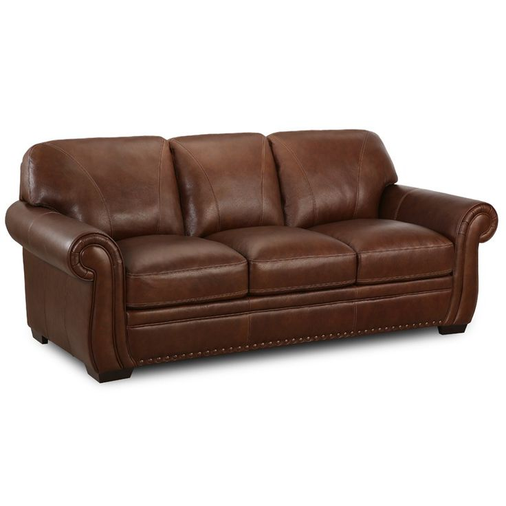 Top Grain Leather. Nailhead Trim. Scrolled Arms. Simon Li Amarillo  Traditional Brown Leather
