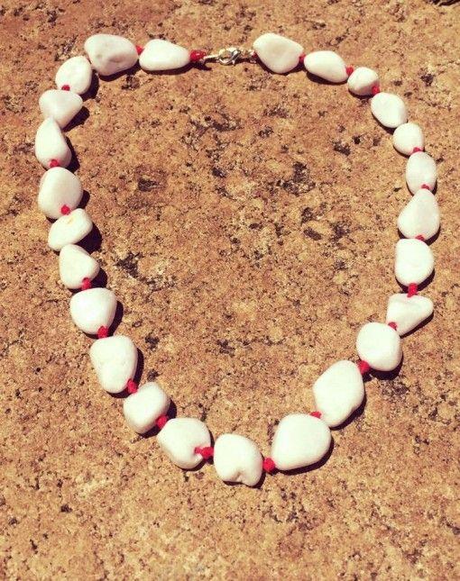 Snow Quartz red hemp necklace