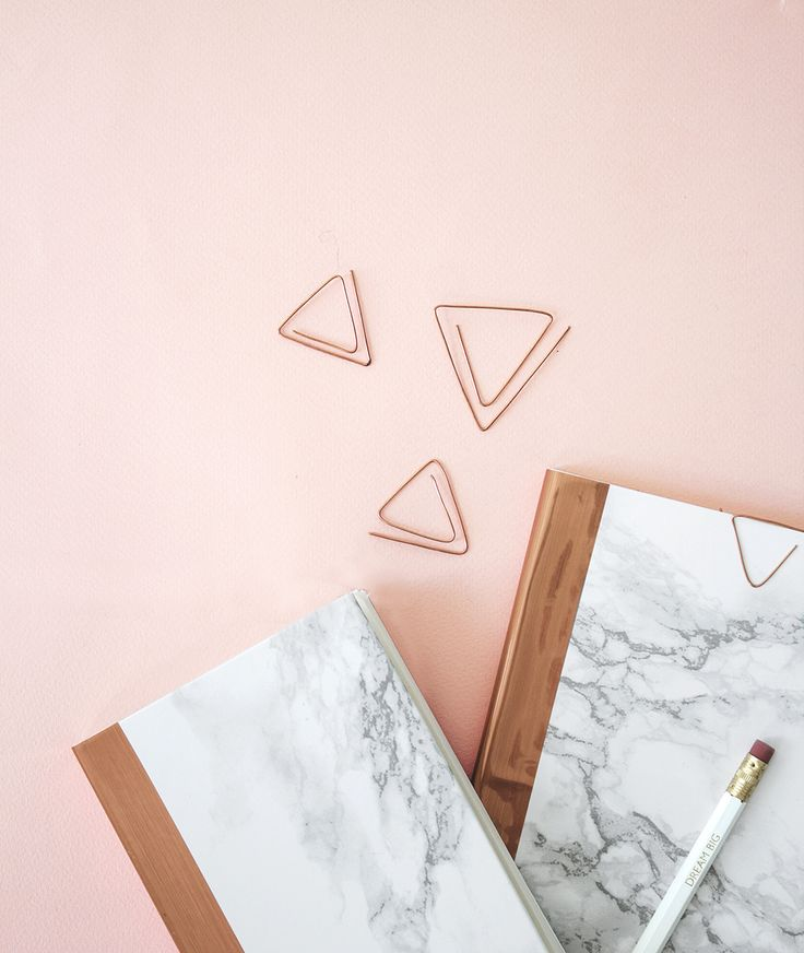 DIY marble and copper stationery - books and paper clips
