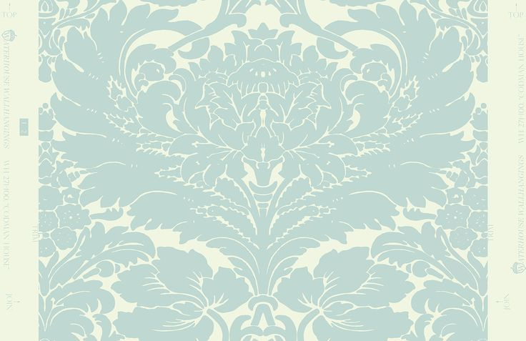 Codman House Damask WH 271 06 in Aqua by Waterhouse Wallhangings