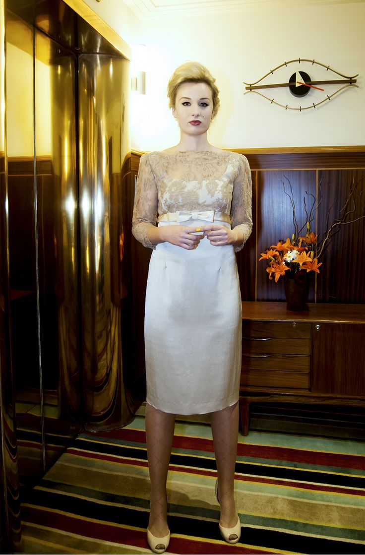 Liz Mitchell Audrey dress in french chantilly lace in champagne tones.