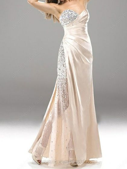 Sheath/Column Sweetheart Elastic Woven Satin Floor-length Beading Prom Dresses -USD$169.65