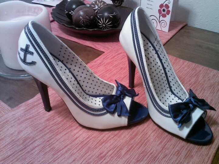 My wedding shoes!! COASTIE wedding!!:) p.s my hubbys in the Coast Guard:)