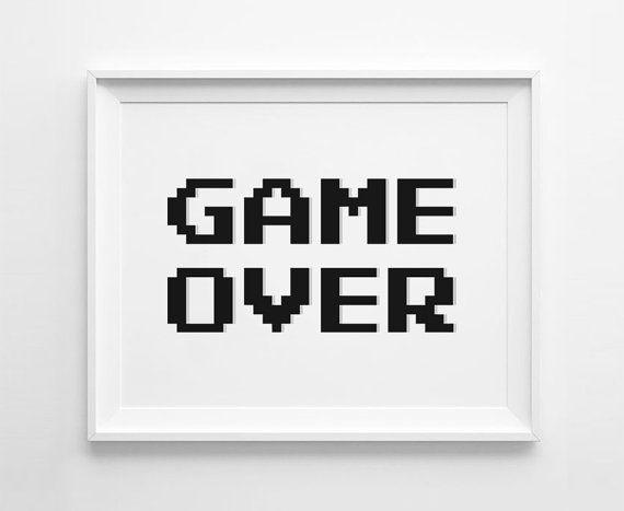 8bit Game Over Videospiel Poster perfekt für jeden Spieleraum.    Sofort-Download. Black und White Printable Artwork zum Download als