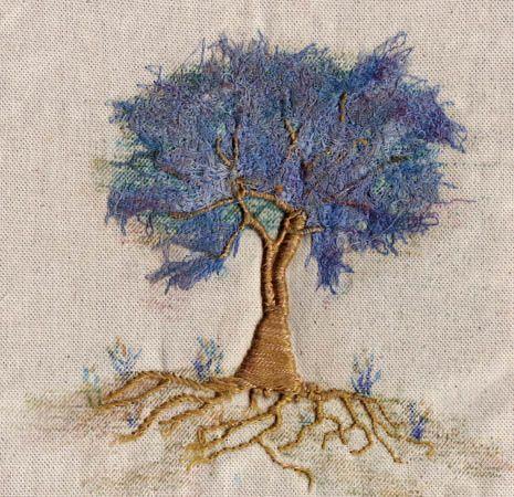 """broderie """"arbres mixte"""" travail main et machine réalisé par Francine LECLERCQ"""