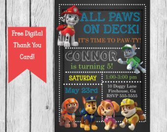 Paw Patrol Birthday Party Invitation Paw Patrol by CrowningDetails