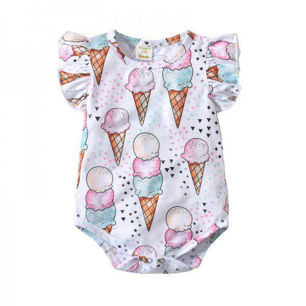 Toddler Baby Boys Bodysuit Short-Sleeve Onesie Ice Cream Print Rompers Spring Pajamas