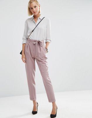Pantalones de pinzas tejidos con lazada OBI de ASOS