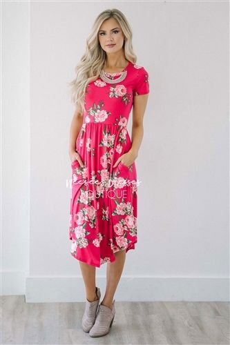 Bright Pink Floral Pocket Dress