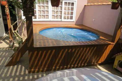 Pileta de lona con deck ideas copadas pinterest for Pileta palets