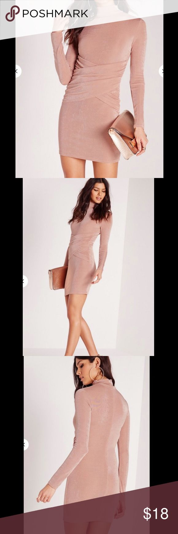 Rose Gold High Neck Bodycon Dress Missguided rose gold Bodycon dress Missguided Dresses Mini