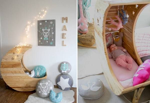 Repurposed Wire Spool Furniture Ideas - pallet baby crib