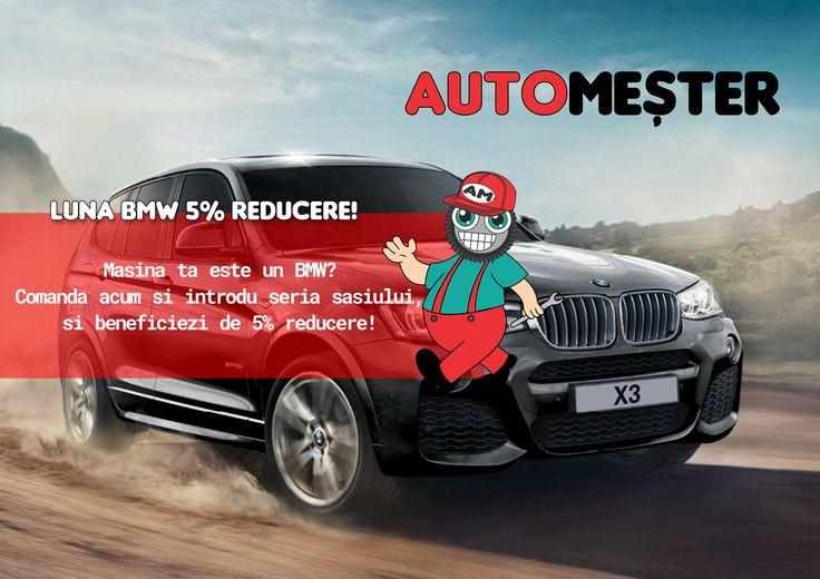 Nu uitati de luna BMW  la automester.ro! Reduceri la orice produs auto pentru BMW! Drumuri mai sigure si plati in 12 rate!
