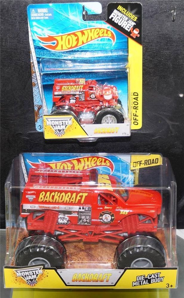 HOT WHEELS 2014 LOT OF 2 MONSTER TRUCKS MONSTER JAM BACKDRAFT 1:24 & 1:64 VHTF #HotWheels  Check out boundlessbargains.com for more great items for sale, thank you.