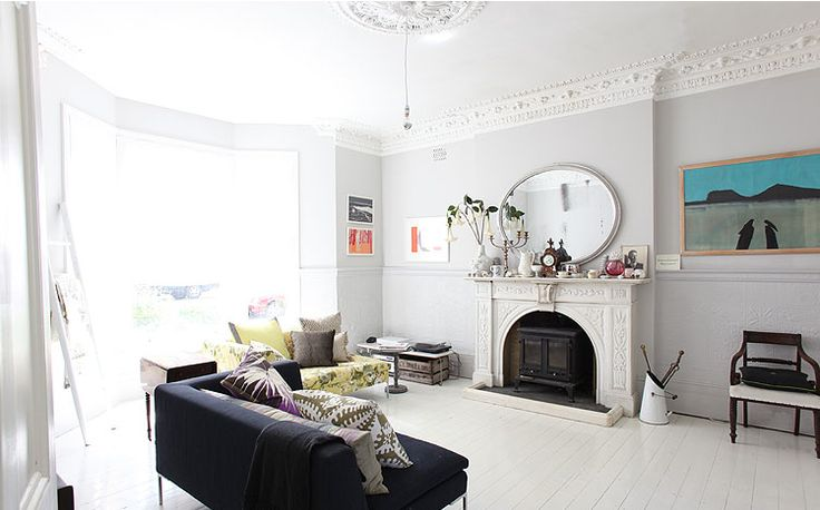 dream lounge room- love the couches and cushions and sideboard and window and...