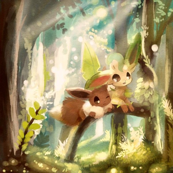 Eevee And Leafeon In A Beautiful Tranquil Forest