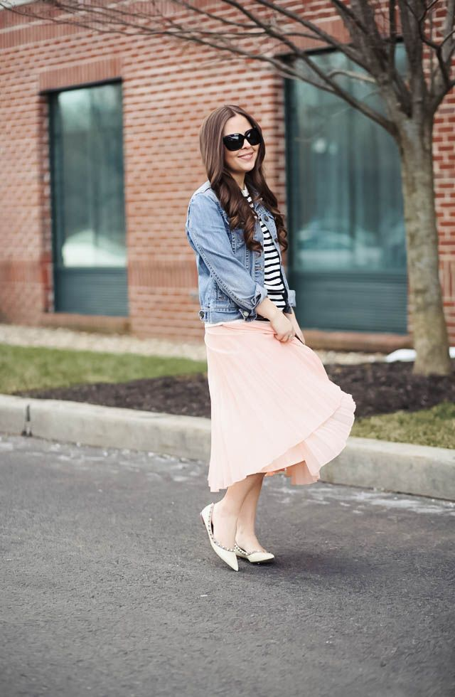spring in my step. - corilynn. Black and white striped top+blush pleated midi skirt+ivory stud pointed flats+denim jacket+black sunglasses. Spring Casual Otufit 2017