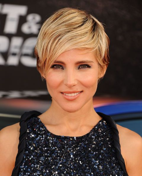 Elsa Pataky's bangs are grown out slightly longer, which makes them the perfect choice for this deep-part look that has her hair sweeping across her eye-line. *Swoons*