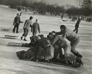 People tobagganing down Art Hill in Forest Park. January 5th, 1947. Missouri History Museum