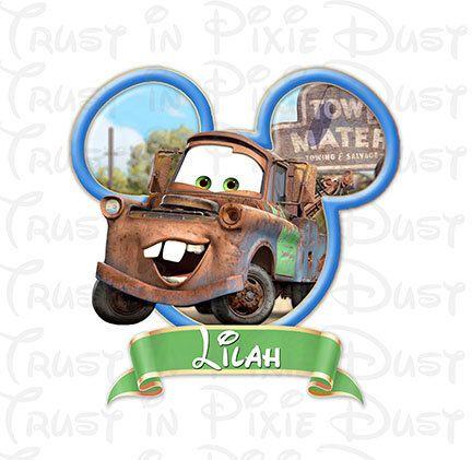 Custom Disney Pixar Cars Tow Mater Digital Download For Disney World Disneyland DIY Print at Home Iron On Matching Family Mickey Shirts by TrustInPixieDust on Etsy