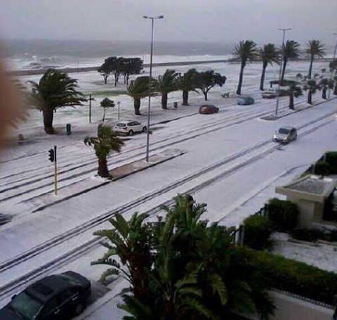 hail storm  stormy seas and the promenade - may 2013