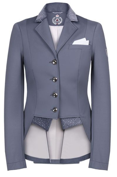 Welcome in the stunning Fair Play Bea Dressage Jacket - Special Edition in GREY  An elegant and very chic short tailcoat made of a high quality, breathable, waterproof and windproof softshell fabric. Decorated with velour inserts, spectacular embroidery and decorative jets.  Comes with a boutonniere bandana and two exchangeable velour bottom flaps without decorative jets.  The Fit:  They run small.  Go up a half size :)