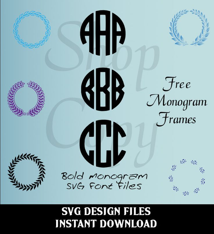 Circle monogram font SVG, Studio V3 Cut files for use with ...