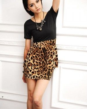 Combined Black Top & Leopart Print Skirt Asian Fashion Crossover Back Dress
