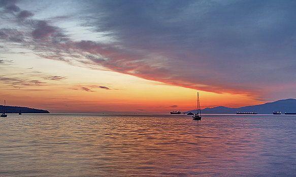 Alex Lyubar Fine Art Photography  Sunset over the bay in a tranquil summer night by Alex Lyubar  #AlexLyubarFineArtPhotography #Sea #Boats #Sunset #Reflection #VancouverCanada #ArtForHome #FineArtPrints