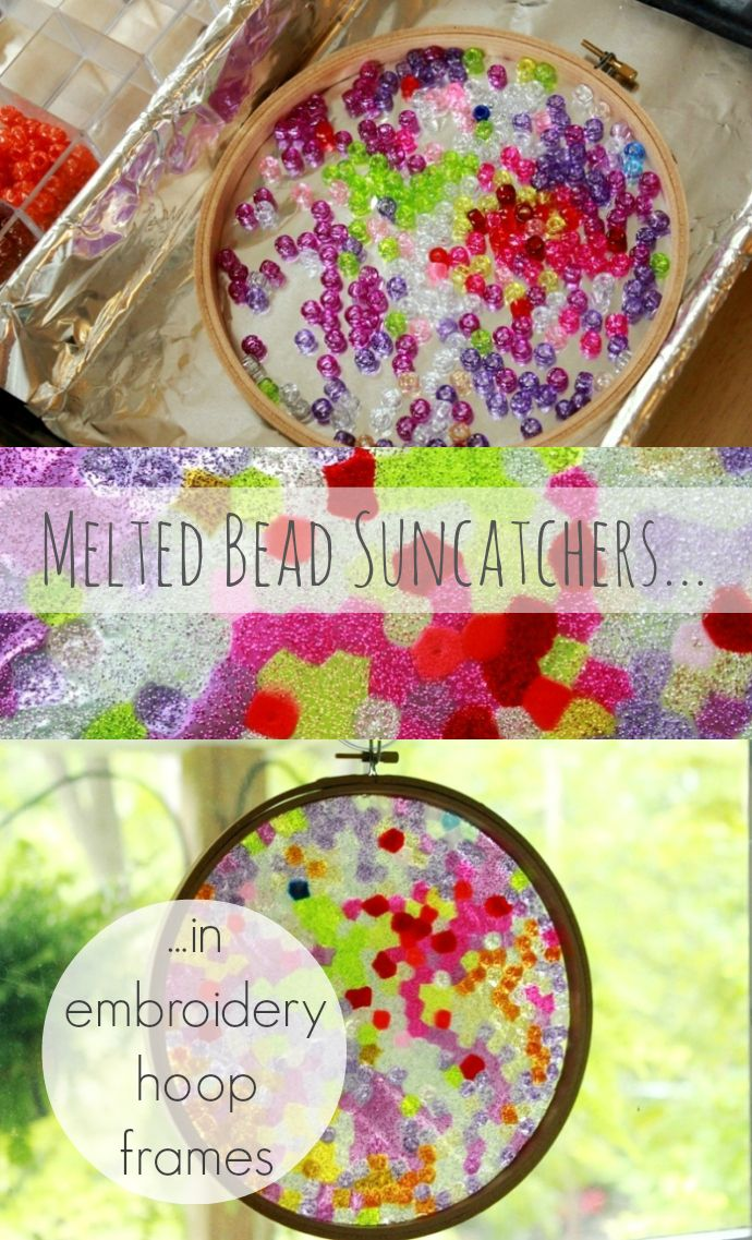 Melted Bead Suncatchers in Embroidery Hoop Frames -- using those cheap plastic pony beads... Would make a great gift!