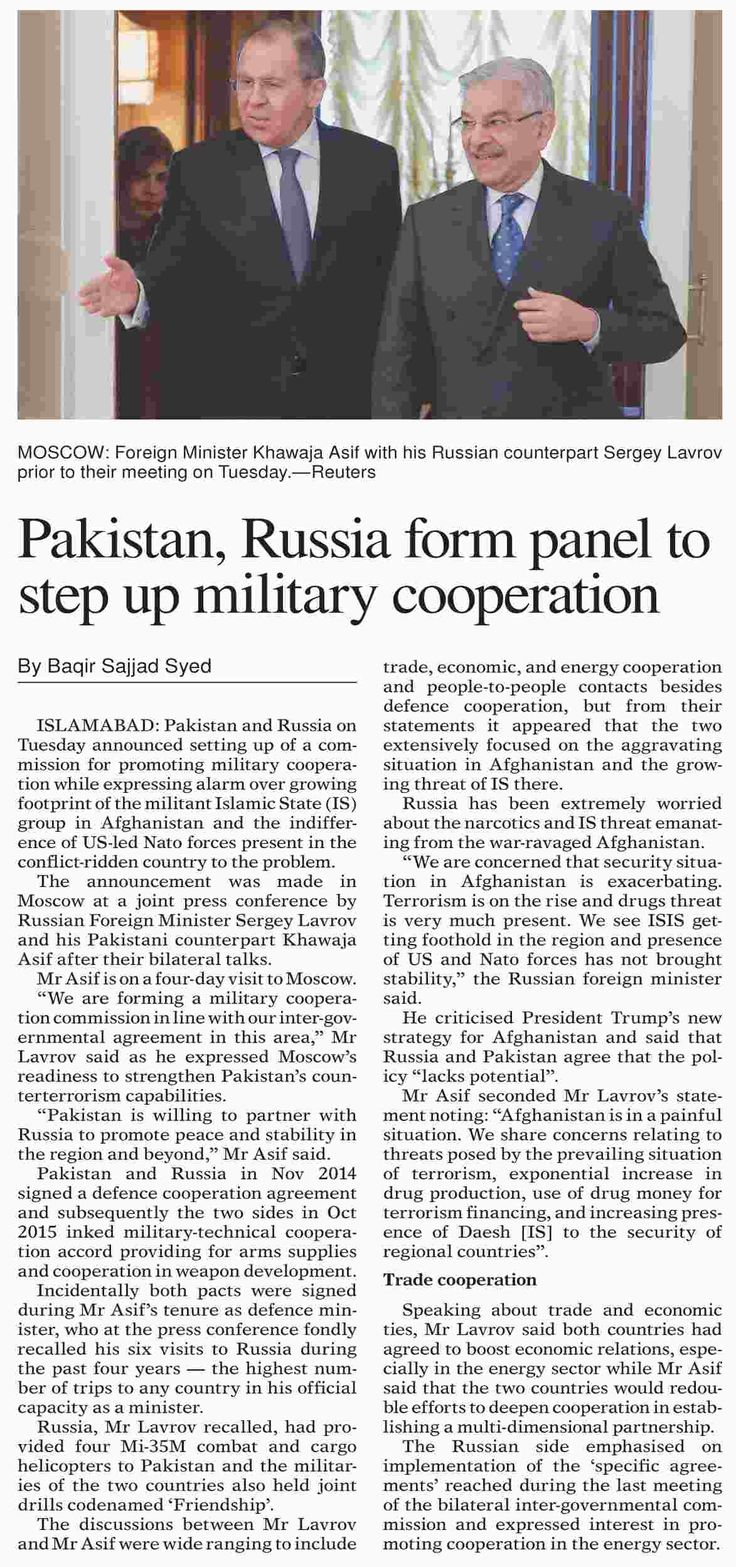 Pakistan, Russia form panel to step up military cooperation | ePaper | DAWN.COM