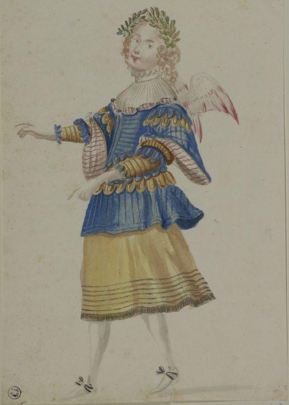 DESSINS ORIGINAUX ET CROQUIS d'habillements, mascarades, scènes et décorations de théâtre, exécutés par les peintres et les costumiers du roi pour les ballets et les divertissements de la cour, depuis Henri III, et pour l'Académie royale de musique, depuis son établissement, en 1671, jusqu'à l'époque de Louis XVI. In-pl., demi-rel., mar. r.