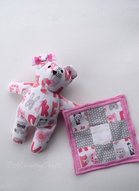 Memory bear and blanket made from baby clothes
