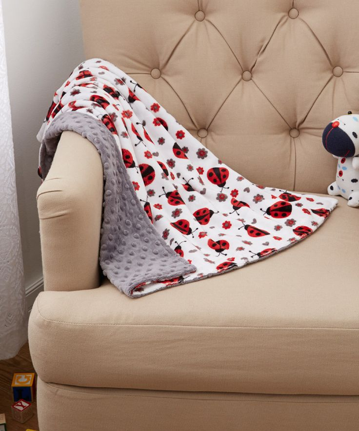 Look at this Lolly Gags 28'' x 28'' Charcoal Ladybug Minky Blanket on #zulily today!