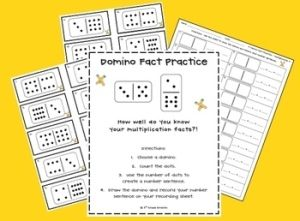 Here's a set of center materials for using dominoes to practice  basic multiplication facts. by phyllis.sotelo