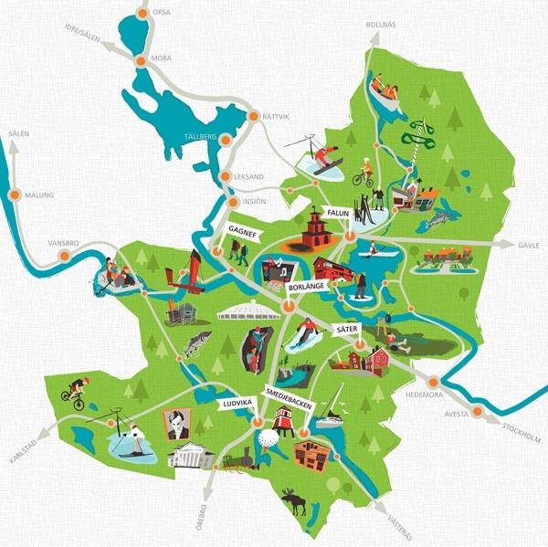 Map illustration Södra Dalarna Sweden by Magnus Sjöberg, via Behance
