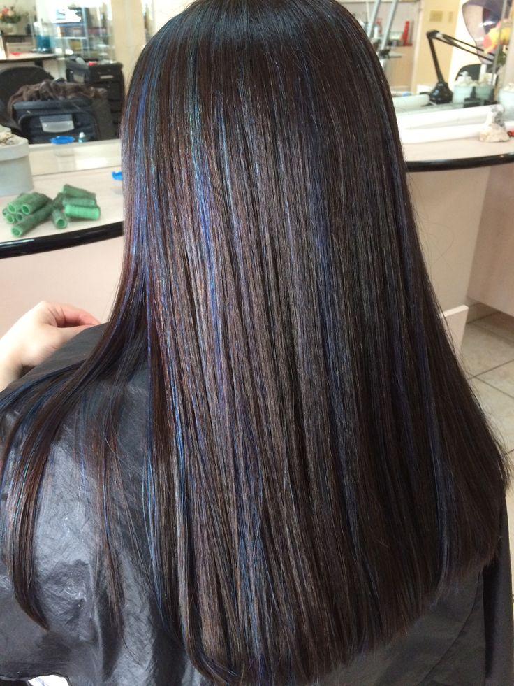 dark brown hair with blue highlights