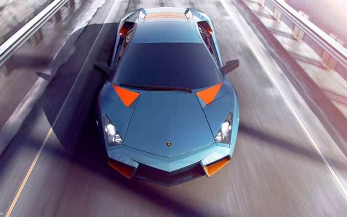 Descargar fondos de pantalla hypercars, el Lamborghini Aventador de 2017, los coches, carretera, tuning, azul Aventador, Lamborghini