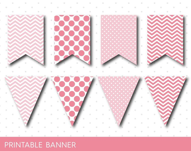 Pink party banner, Pink banner, Pink birthday banner, Pink baby shower banner, Blank banner Pink triangle banner Baby boy girl banner, PB-15
