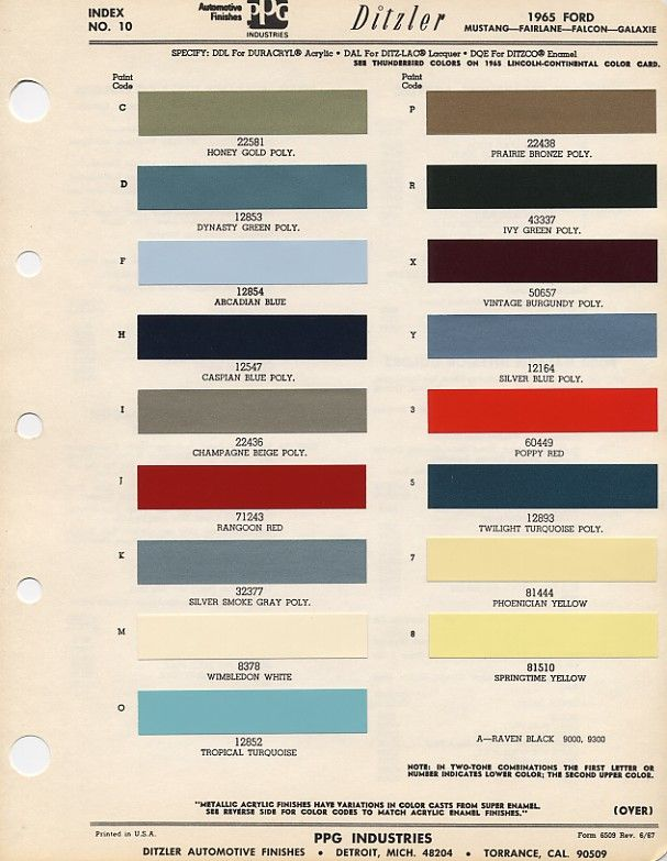 1965 Mustang exterior paint codes Very cool Id love to have one